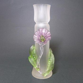 Kralik Art Nouveau Bohemian Glass Applied Flower Vase