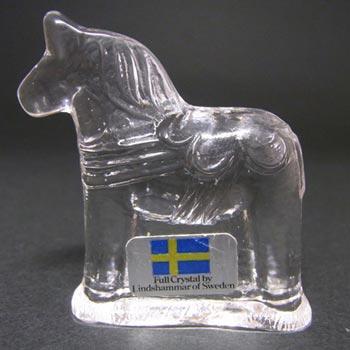 Lindshammar Swedish Glass Horse Paperweight - Labelled