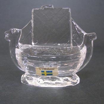 Lindshammar Swedish Glass Ship Paperweight - Labelled