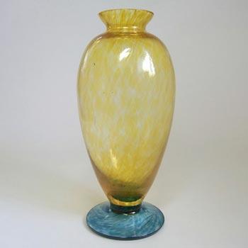 Lindshammar Swedish Amber + Blue Glass Vase - Labelled