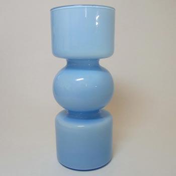 Lindshammar 1970's Swedish Blue Glass 'Hooped' Vase