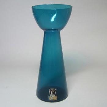 Lindshammar 60s Swedish Blue Glass Vase by Gunnar Ander