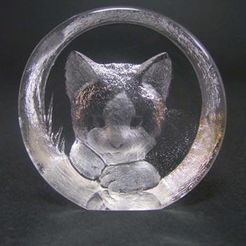 Mats Jonasson Glass Paperweight Cat Sculpture - Signed