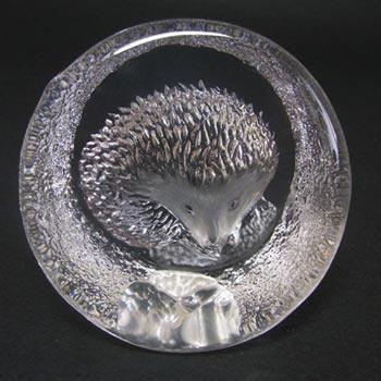 Mats Jonasson #9187 Glass Hedgehog Paperweight - Signed