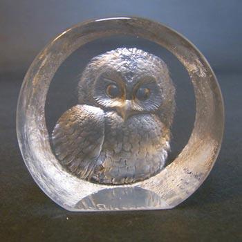 Mats Jonasson Glass Paperweight Owl Sculpture - Signed