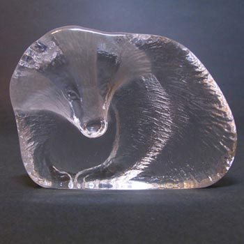 Mats Jonasson / Royal Krona #33644 Glass Badger Paperweight - Signed