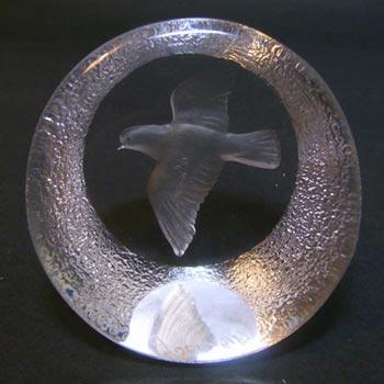 Mats Jonasson #9184 Glass Bird / Dove Paperweight - Signed