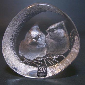 Mats Jonasson #3356 Glass Red Cardinal Chicks Paperweight - Signed