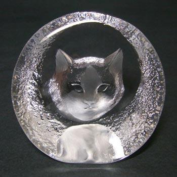 Mats Jonasson #9176 Glass Paperweight Cat Sculpture - Signed