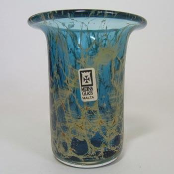 Mdina Maltese Blue + Yellow Glass Vase - Labelled
