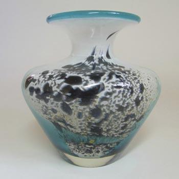 Mdina Maltese White & Blue Glass 'Seascape' Vase - Labelled