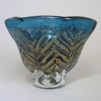 Mdina Blue + Yellow Maltese Glass Vase - Labelled