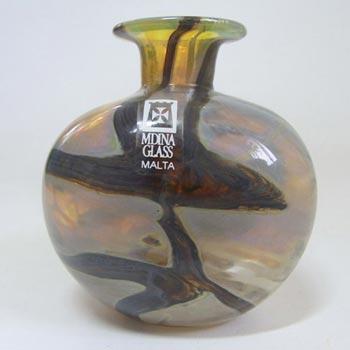 Mdina Sandy 'Earthtones' Glass Vase - Signed & Labelled
