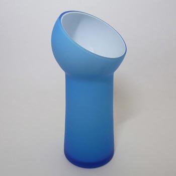 Carlo Moretti Satinato Blue Murano Glass Vase - Labelled