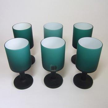 Carlo Moretti Set 6 Satinato Turquoise Murano Glass Goblets