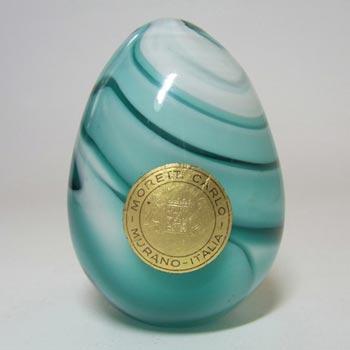 Carlo Moretti Marbled Green & White Murano Glass Paperweight