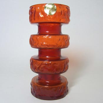Carlo Moretti Textured Red Murano Glass Vase - Labelled