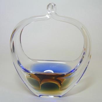 Chribska Czech Amber + Blue Glass Basket Vase/Bowl
