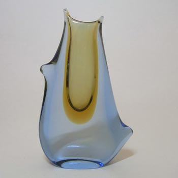 Mstisov Czech Amber/Blue Glass Vase 53095 - Frantisek Zemek