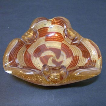 Murano/Venetian 1950's Gold Leaf Biomorphic Glass Bowl