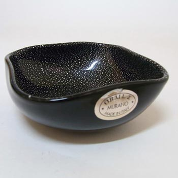 Oball Murano Black Glass Silver Leaf Bowl - Labelled