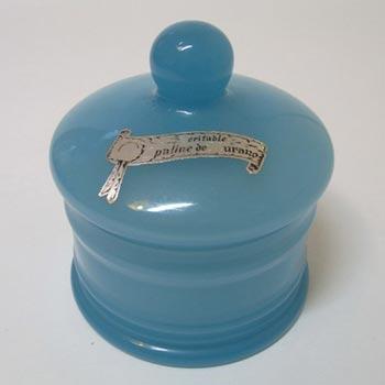 V Nason Blue Opaline Murano Glass Labelled Trinket Pot