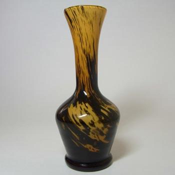 V.B. Opaline Florence Italian Empoli Amber Glass Vase