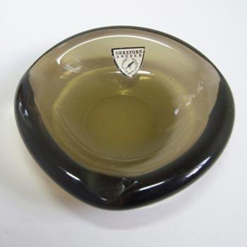 Orrefors Swedish Smoky Amber Glass Bowl - Labelled