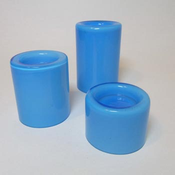 Orrefors Blue Glass 'Eternell' Candle Holders by Owe Elvén