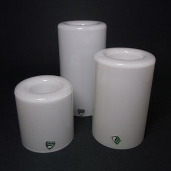 3 x Orrefors Owe Elvén Glass 'Eternell' Candlesticks