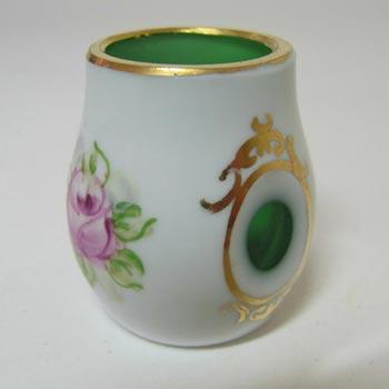 Crystalex Czech Enamelled Green & White Overlay / Cut Glass Vase