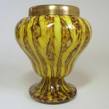 Franz Welz Czech Yellow Glass 'Zig Zag Lines' Posy Vase