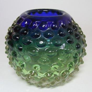 Prachen Czech Blue/Green Glass Vase, Frantisek Koudelka