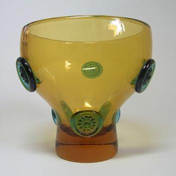 Prachen 1970s Amber + Blue Glass Vase - Josef Hospodka
