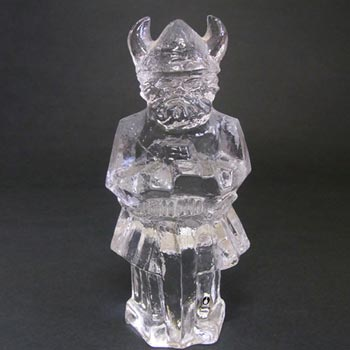 Pukeberg/Uno Westerberg Glass Viking Paperweight -Label