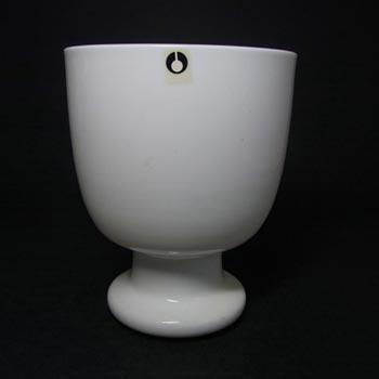 Pukeberg Swdish Opaque White Glass Vase - Labelled