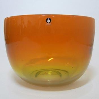 Pukeberg Swedish Orange + Yellow Glass Bowl - Labelled