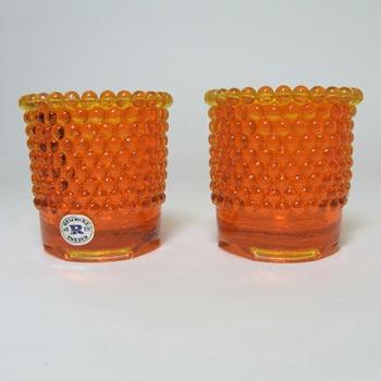 Reijmyre Swedish Orange Glass Candlestick Holders - Labelled