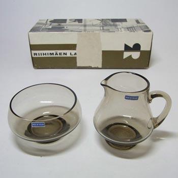 Riihimaki #1150 Riihimaen Tamara Aladin Glass 'Pöytä' Sugar Bowl + Creamer