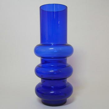 Ryd Glasbruk Swedish / Scandinavian Blue Glass Hooped Vase