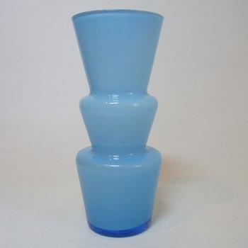 Lindshammar 1970's Swedish Blue Hooped Glass Vase
