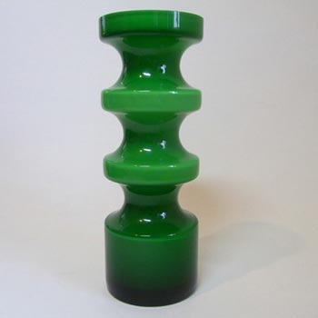 Alsterfors #S5014 Per Strom Green Hooped Cased Glass Vase