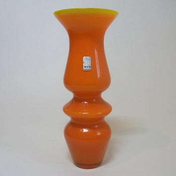 Ryd Swedish / Scandinavian Orange Glass Hooped Vase - Label