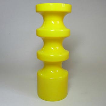 Alsterfors #S5014 Yellow Glass Hooped Vase Signed P Strom 68