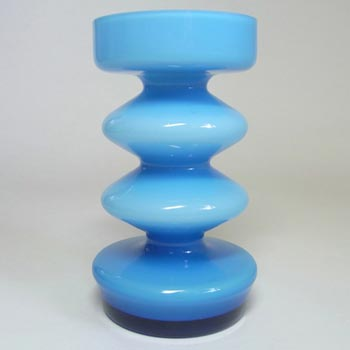 Friedrich German Blue Retro Cased Glass 'Hooped' Vase