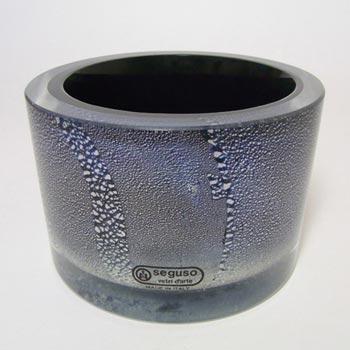 Seguso Vetri d'Arte Black Glass + Silver Leaf Bowl - Labelled