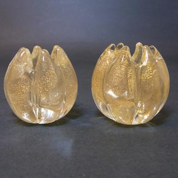 Archimede Seguso Gold Leaf Glass Candle Holders - Labelled