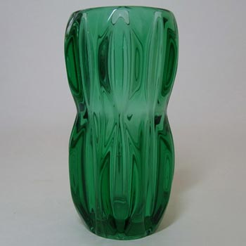 Rosice Sklo Union Green Glass Vase by Jan Schmid #1032