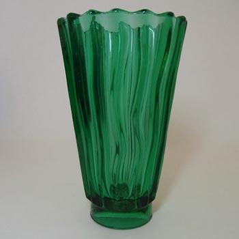 Rosice Sklo Union Czech Green Glass Vase #933