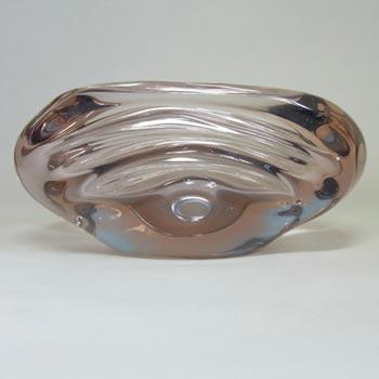 Skrdlovice #5449 Czech Pink & Blue Glass Bowl by Jan Broz